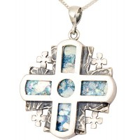 Roman Glass 'Jerusalem Cross' 5 Fold - Rugged Cross Pendant - Sterling Silver - Made in the Holy Land