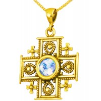 Roman Glass 'Jerusalem Cross' Decorated Pendant - 14k Gold - Holy Land Jewelry