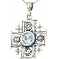 Roman Glass 'Jerusalem Cross' Decorated Pendant - 925 Sterling Silver - Holy Land Jewelry