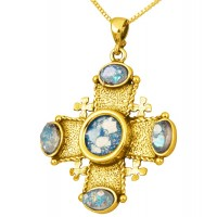 Roman Glass 'Jerusalem Cross' Stones Pendant - 14k Gold - Holy Land Jewelry