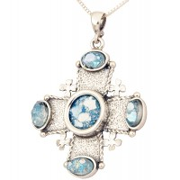 Roman Glass 'Jerusalem Cross' Stones Pendant - 925 Sterling Silver - Holy Land Jewelry