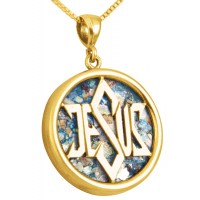 Roman Glass 'Jesus - Star of David' Round 14k Gold Pendant - Made in Israel