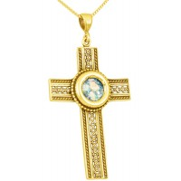 Roman Glass - Lattice 'Cross' Pendant - 14k Gold - Made in the Holy Land