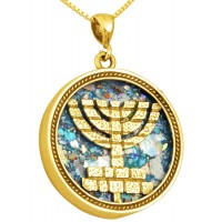 Roman Glass 'Jerusalem Walls Menorah' 14k Gold Pendant - Made in Israel