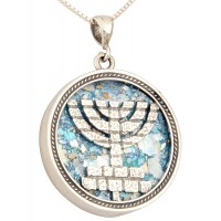 Roman Glass 'Jerusalem Walls Menorah' Sterling Silver Pendant - Made in Israel