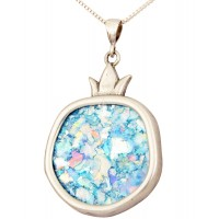 Roman Glass 'Pomegranate' Pendant - 925 Sterling Silver - Israeli Jewelry