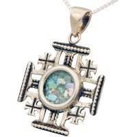 'Jerusalem Cross' Sterling Silver Pendant with Roman Glass Center
