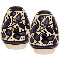 Armenian Ceramic Blue Flowered 'Salt and Pepper' Pots - Handmade in Jerusalem
