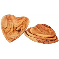Set of 4 Olive Wood Heart Dishes | Handmade in Bethlehem