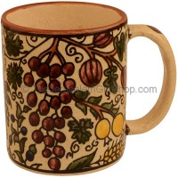 Large Armenian Ceramic Beige 'Seven Species' Mug