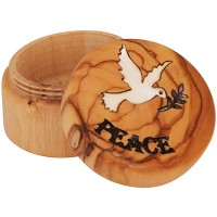 Olive Wood Jewelry Box with Mother of Pearl 'Peace Dove with Olive Branch' inlay and 'Peace' Engraving - Round