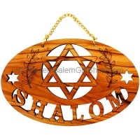 'Shalom Star of David' Olive Wood Wall Hanging