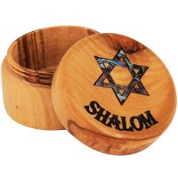 Olive Wood Jewelry Box with Mother of Pearl Star of David inlay and 'Shalom' Engraving - Round