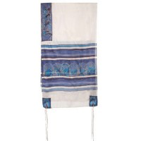 Silk Emanuel Tallit - The Twelve Tribes - white and blue