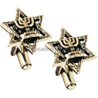 Sterling Silver Cufflinks - Star of David with Menorah