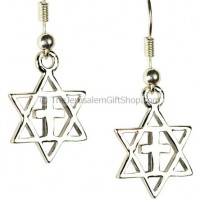 Star of David with Cross Earrings