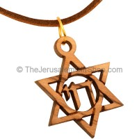 'Chai' Hebrew 'Life' Star of David Olive Wood Pendant