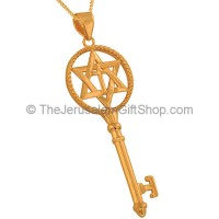Cross inside Star of David Gold Fill Key Pendant