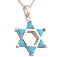 Sterling Silver 'Star of David' Six Deep Opal Pendant