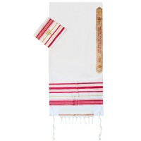 Prayer Shawl Tallit - Ladies Pink with Gold Menorah Case