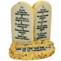 'The Ten Commandments' in English and Hebrew on Rock Scripture Display base