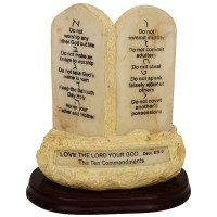 'The Ten Commandments' in English and Hebrew Ornament on Rock Scripture Display base - 7 inch