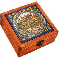 Wood Jewelry Box with Jerusalem Ceramic Tile - Made in the Holy Land - Medium