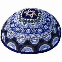 Yair Emanuel - Star of David Embroidered Silk Kippah - Blue