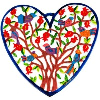 Laser Cut Hand Painted Heart with Pomegranate