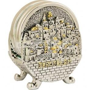 Jerusalem Holy Land Coasters - set on stand