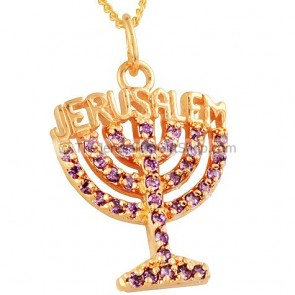 Menorah Pendant with Jerusalem - Goldfill and Amethyst