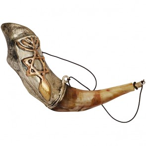 Anointing Rams Shofar Covered with 925 Silver 'Grafted In' Messianic Symbol