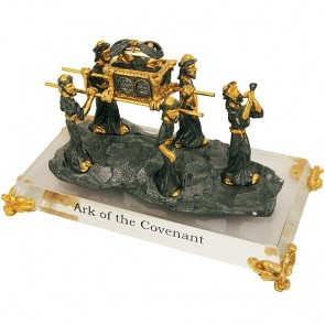 Ark of the Covenant Carried by Levites - Pewter on Crystal Base - Gold Plated