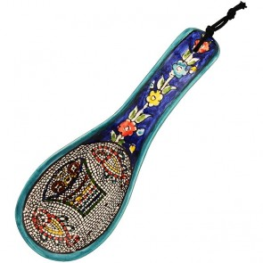 Armenian Ceramic 'Tabgha' Floral Design Spoon