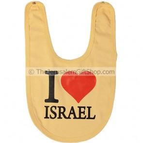 Baby Bib 'I Love Israel' with a Big Heart