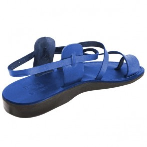 Leather Jesus Sandals - Bethlehem Yeshua Style - Colored Blue