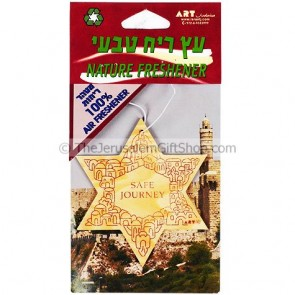 Car Air Freshener - Star of David with Travellers Prayer in English