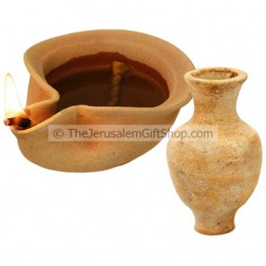 Clay Oil Lamp - Canaanite with Jar