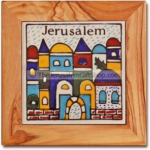 Olive wood Ceramic Coaster - Jerusalem