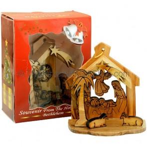 Olive Wood Christmas Tree Decoration - Nativity