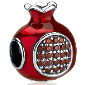 `GraceLet` Bracelet - Enameled Pomegranate with Garnet Stone Seeds