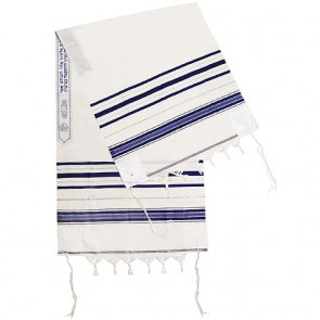 Classic Tallit / Prayer Shawl - Blue and Silver - Acrylic