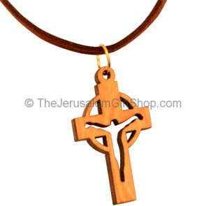 Cross with Jesus Olive Wood Pendant