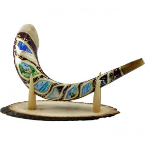 Ram's Decorated Shofar By Artist Sarit Romano - Six Days of Creation and The Sabbath Rest
