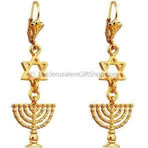 Menorah Star of David Earrings - Gold Plate