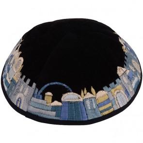 'Emanuel' Silk Jerusalem Kippa - Blue