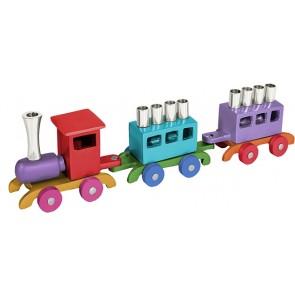 Yair Emanuel Children's Train Hanukkah Menorah - Multicolor