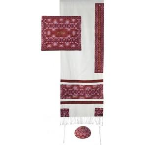 Yair Emanuel 'Star of David' Embroidered Raw Silk Prayer Shawl / Tallit Set - Red