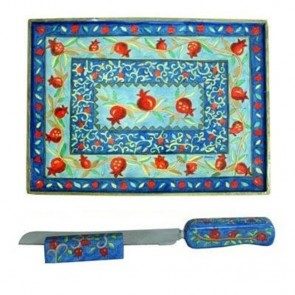 Yair Emanuel 'Pomegranates' Bread Board with Knife and Stand
