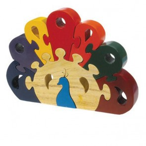 Yair Emanuel Colorful Wooden Puzzle - Peacock